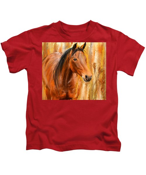 Standing Regally- Bay Horse Paintings Kids T-Shirt