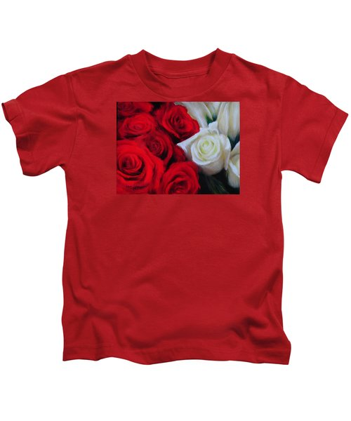 Da143 Symphony In Red And White By Daniel Adams Kids T-Shirt