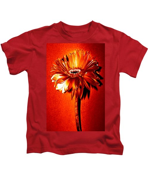 Tequila Sunrise Zinnia Kids T-Shirt by Sherry Allen