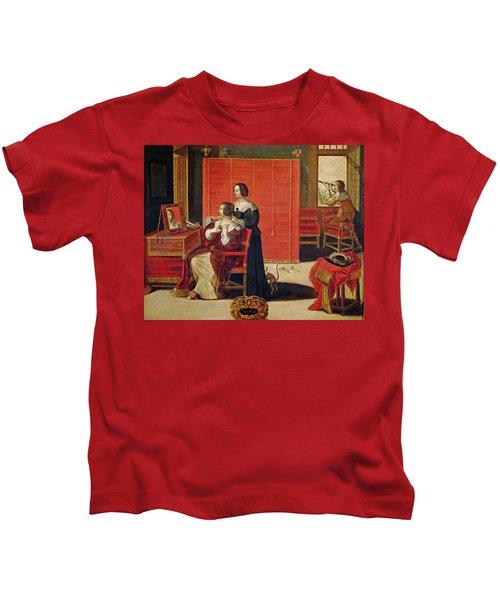 The Five Senses - Sight Oil On Canvas Kids T-Shirt