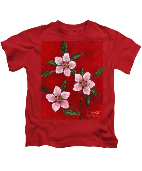 Three Blossoms On Red Kids T-Shirt