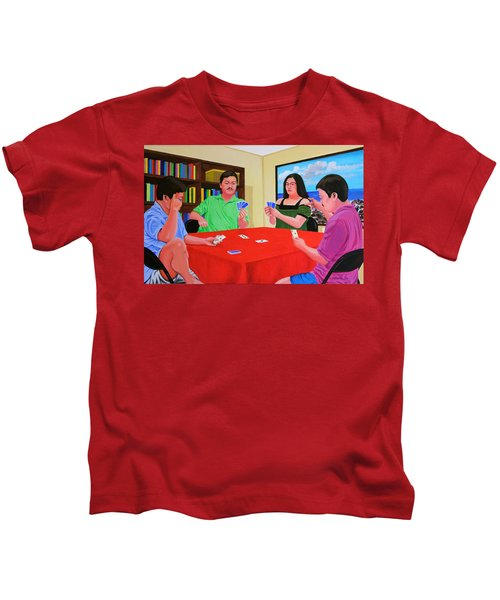 Three Men And A Lady Playing Cards Kids T-Shirt
