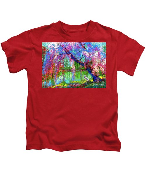 Weeping Beauty, Cherry Blossom Tree And Heron Kids T-Shirt