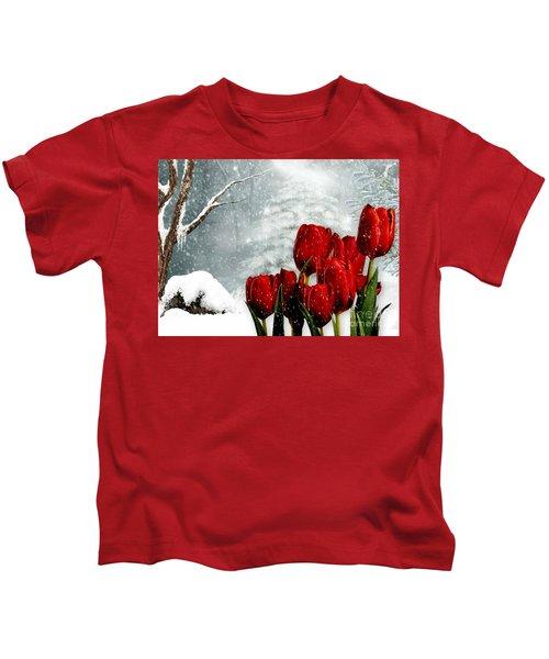 Winter Tulips Kids T-Shirt