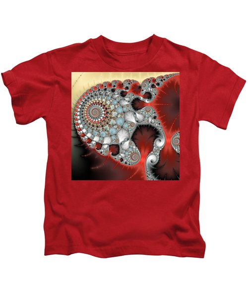 Wonderful Abstract Fractal Spirals Red Grey Yellow And Light Blue Kids T-Shirt