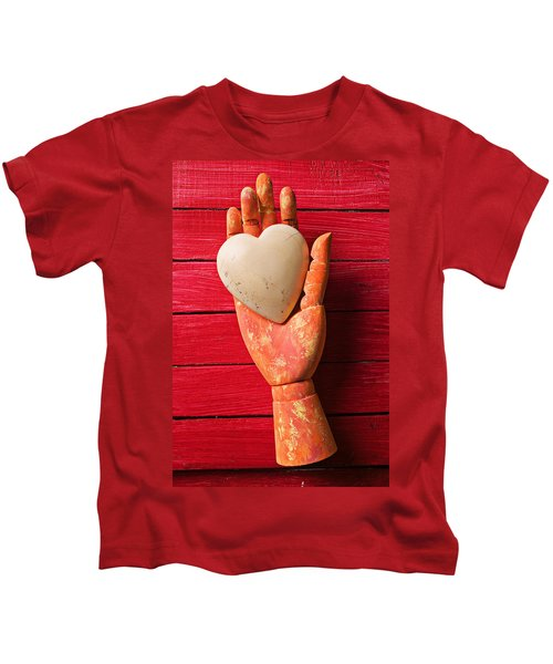 Wooden Hand With White Heart Kids T-Shirt