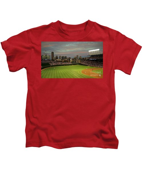 Wrigley Field At Dusk Kids T-Shirt