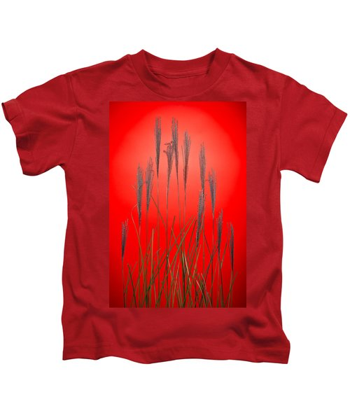 Fountain Grass In Red Kids T-Shirt
