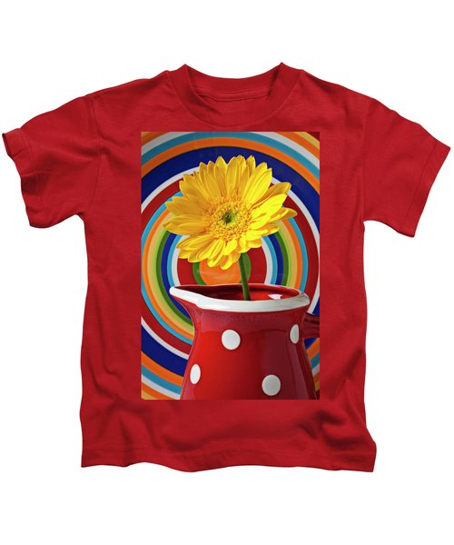 Yellow Daisy In Red Pitcher Kids T-Shirt
