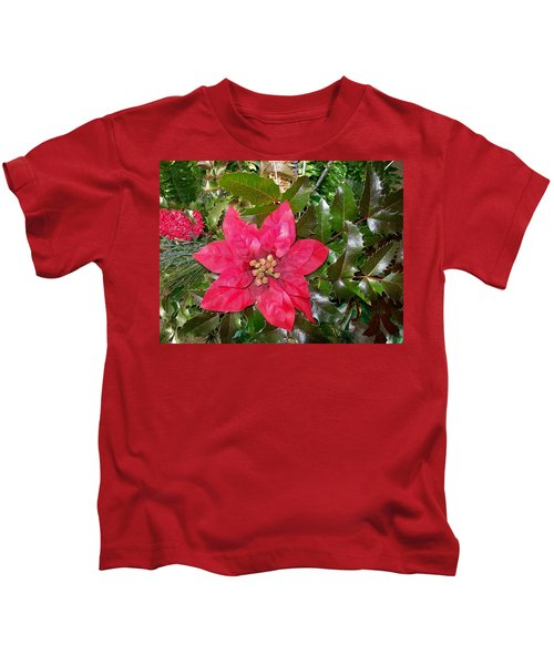 Christmas Poinsettia Kids T-Shirt