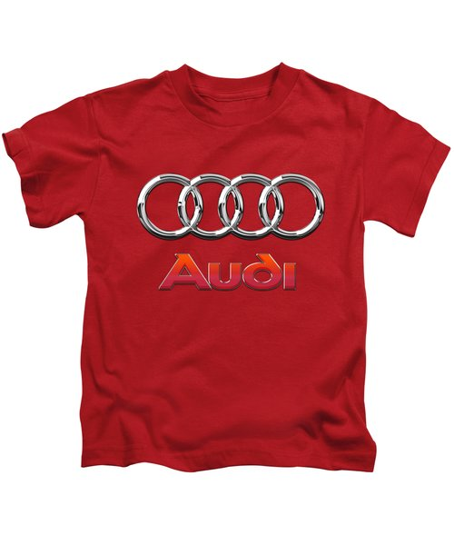 Audi - 3d Badge On Red Kids T-Shirt