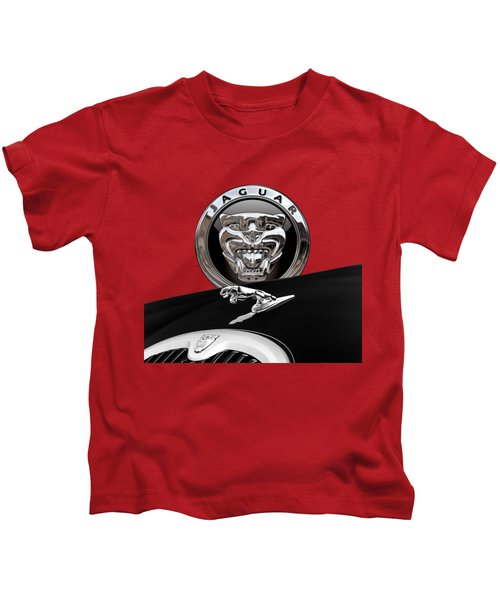 Black Jaguar - Hood Ornaments And 3 D Badge On Red Kids T-Shirt