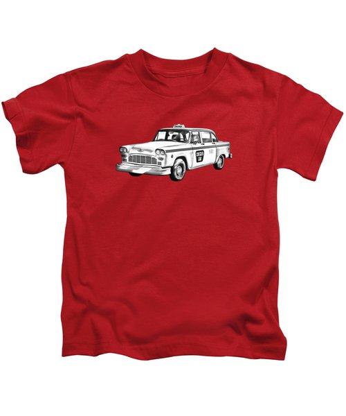 Checkered Taxi Cab Illustrastion Kids T-Shirt
