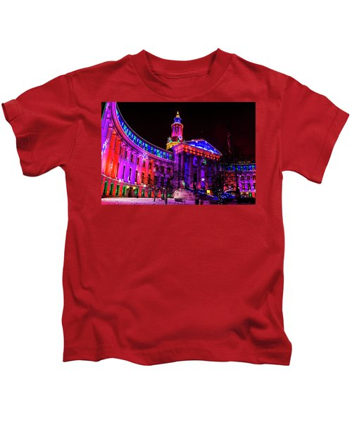 Denver City And County Building Holiday Lights Kids T-Shirt