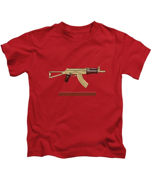 Gold A K S-74 U Assault Rifle With 5.45x39 Rounds Over Red Velvet   Kids T-Shirt