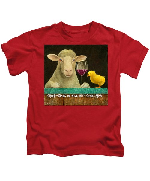 Sheep Faced On Wine With Some Chick... Kids T-Shirt by Will Bullas