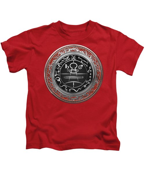 Silver Seal Of Solomon - Lesser Key Of Solomon On Red Velvet  Kids T-Shirt