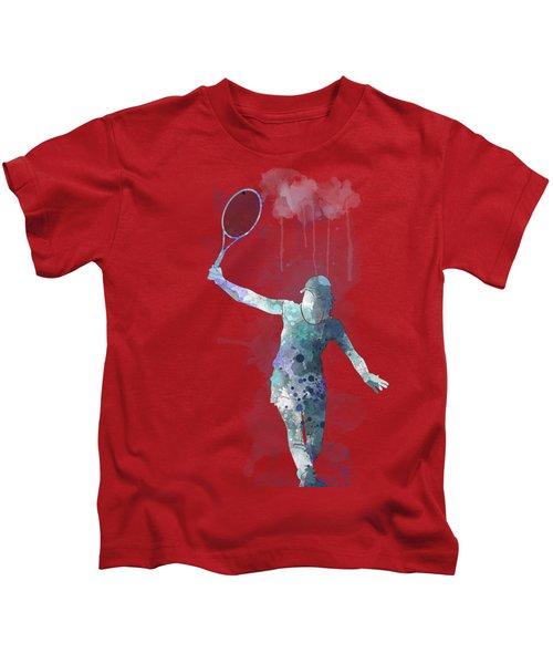 Tennis Player Kids T-Shirt by Marlene Watson