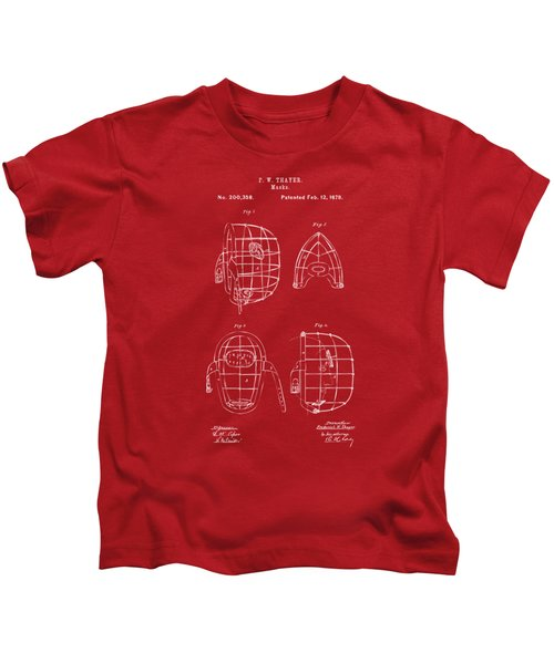 1878 Baseball Catchers Mask Patent - Red Kids T-Shirt