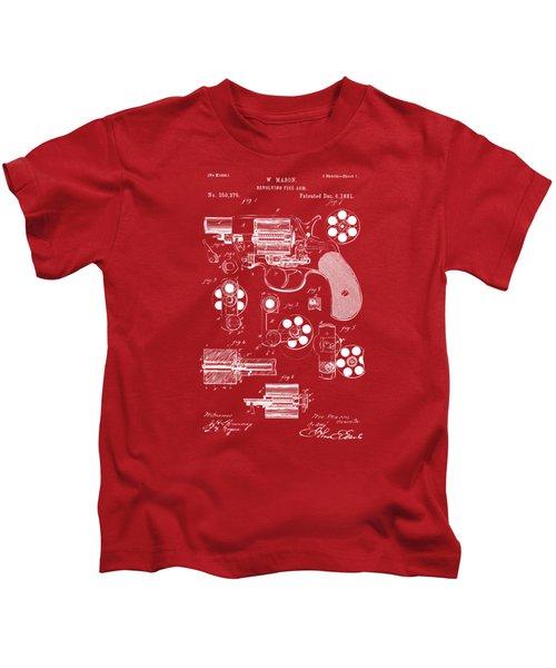 1881 Colt Revolving Fire Arm Patent Artwork Red Kids T-Shirt
