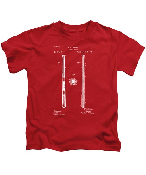 1885 Baseball Bat Patent Artwork - Red Kids T-Shirt