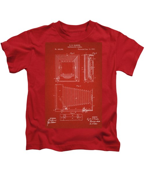 1891 Camera Us Patent Invention Drawing - Red Kids T-Shirt