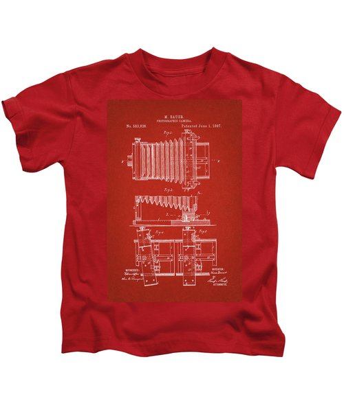 1897 Camera Us Patent Invention Drawing - Red Kids T-Shirt