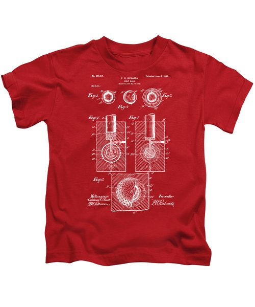 1902 Golf Ball Patent Artwork Red Kids T-Shirt by Nikki Marie Smith