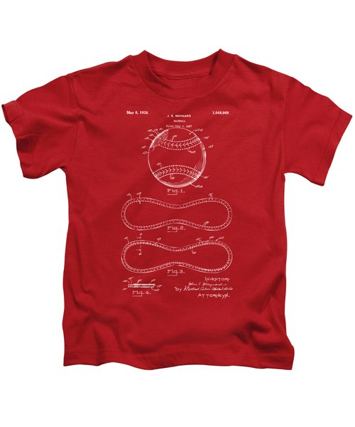 1928 Baseball Patent Artwork Red Kids T-Shirt