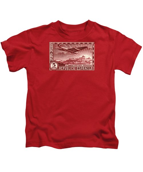 1931 Airplane Over Madrid Spain Stamp Kids T-Shirt