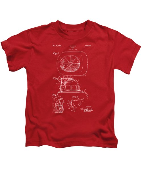 1932 Fireman Helmet Artwork Red Kids T-Shirt