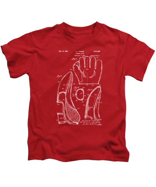 1941 Baseball Glove Patent - Red Kids T-Shirt