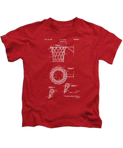1951 Basketball Net Patent Artwork - Red Kids T-Shirt by Nikki Marie Smith