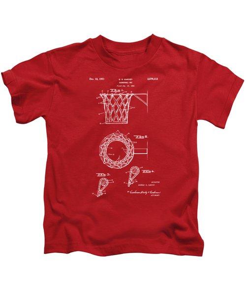 1951 Basketball Net Patent Artwork - Red Kids T-Shirt