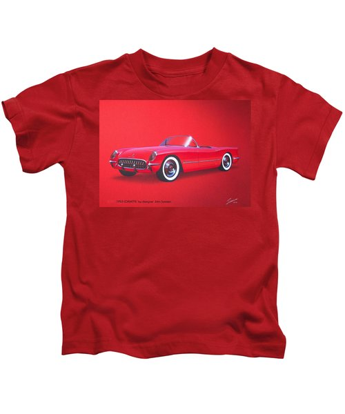 1953 Corvette Classic Vintage Sports Car Automotive Art Kids T-Shirt