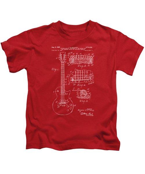1955 Mccarty Gibson Les Paul Guitar Patent Artwork Red Kids T-Shirt