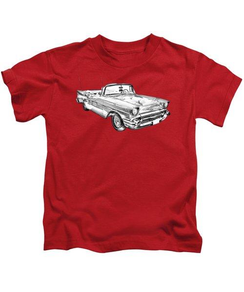 1957 Chevrolet Bel Air Convertible Illustration Kids T-Shirt