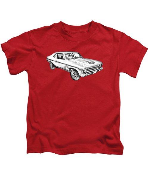 1969 Chevrolet Nova Yenko 427 Muscle Car Illustration Kids T-Shirt