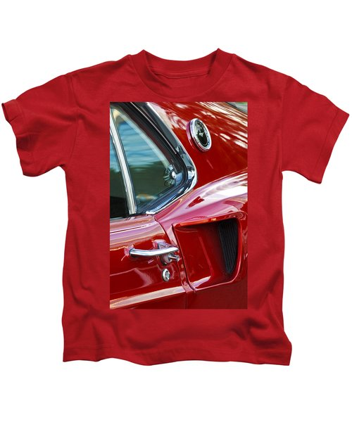 Kids T-Shirt featuring the photograph 1969 Ford Mustang Mach 1 Side Scoop by Jill Reger