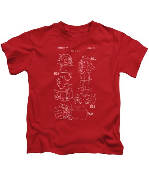 1973 Space Suit Elements Patent Artwork - Red Kids T-Shirt
