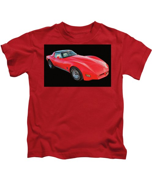 1977 Chevy Corvette T Tops Digital Oil Kids T-Shirt