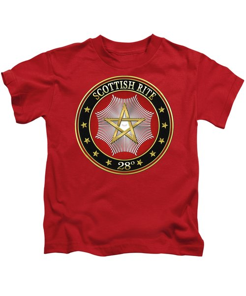 28th Degree - Knight Commander Of The Temple Jewel On Red Leather Kids T-Shirt