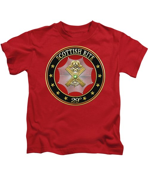 29th Degree - Scottish Knight Of Saint Andrew Jewel On Red Leather Kids T-Shirt