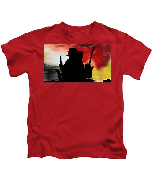 Bruce Springsteen Clarence Clemons Kids T-Shirt by Marvin Blaine