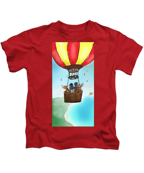 3 Dogs Singing In A Hot Air Balloon Kids T-Shirt