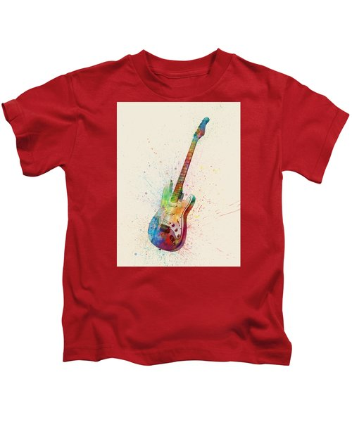 Electric Guitar Abstract Watercolor Kids T-Shirt