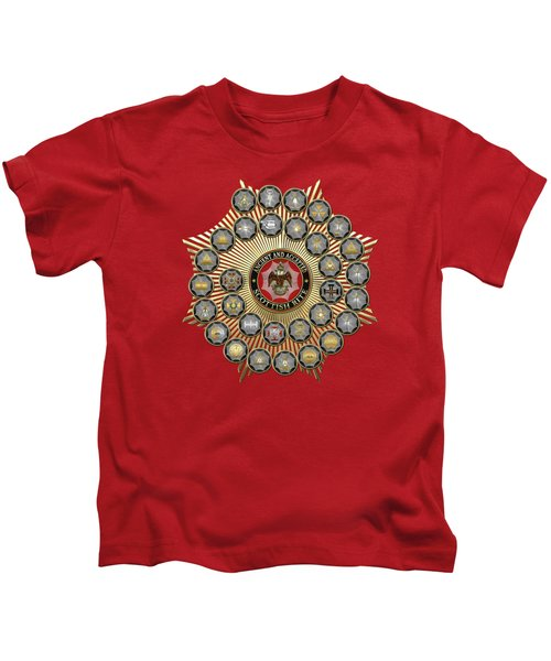33 Scottish Rite Degrees On Red Leather Kids T-Shirt