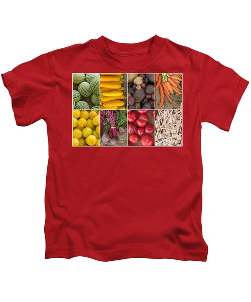 Fruit And Vegetable Collage Kids T-Shirt