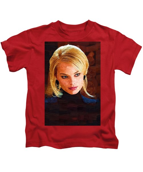 Margot Robbie Painting Kids T-Shirt by Best Actors