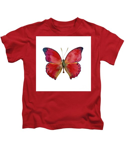 83 Red Glider Butterfly Kids T-Shirt
